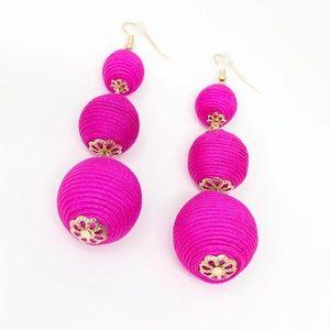 Hot Pink Ball Drop Earrings